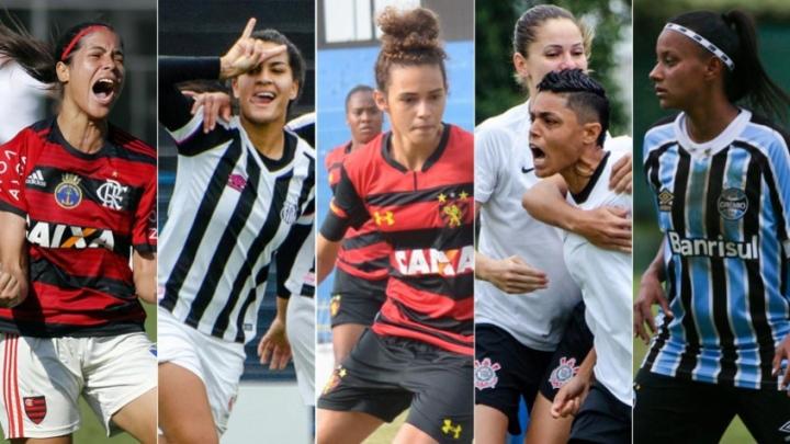 Algumas jogadoras do principais clubes com equipes femininas do Brasil. Créditos: Montagem Lance.