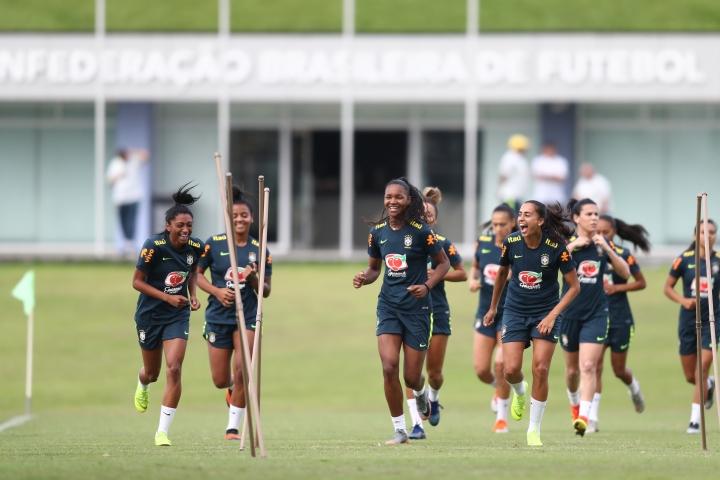 Treino da Seleção Brasileira Feminina de Futebol. Créditos: Lucas Figueiredo/CBF
