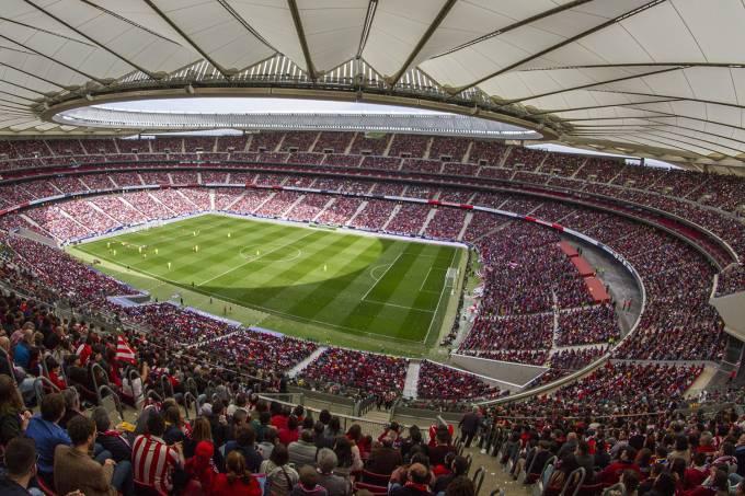 Mais de 60 mil torcedores foram ao estádio Wanda Metropolitano para ver a partida do Campeonato Espanhol feminino (David S. Bustamante/Soccrates/Getty Images)