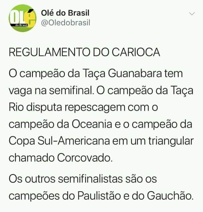 Portal Olé do Brasil brinca com regulamento do Campeonato Carioca. Créditos: Reprodução Twitter / Olé do Brasil