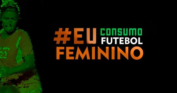 Arte de divulgação da campanha #EuConsumoFutebolFeminino. Créditos: Chris Mussi.