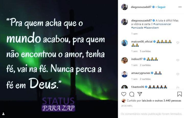 Mensagem Diego Souza em uma rede social. Foto: Instagram/Reprodução
