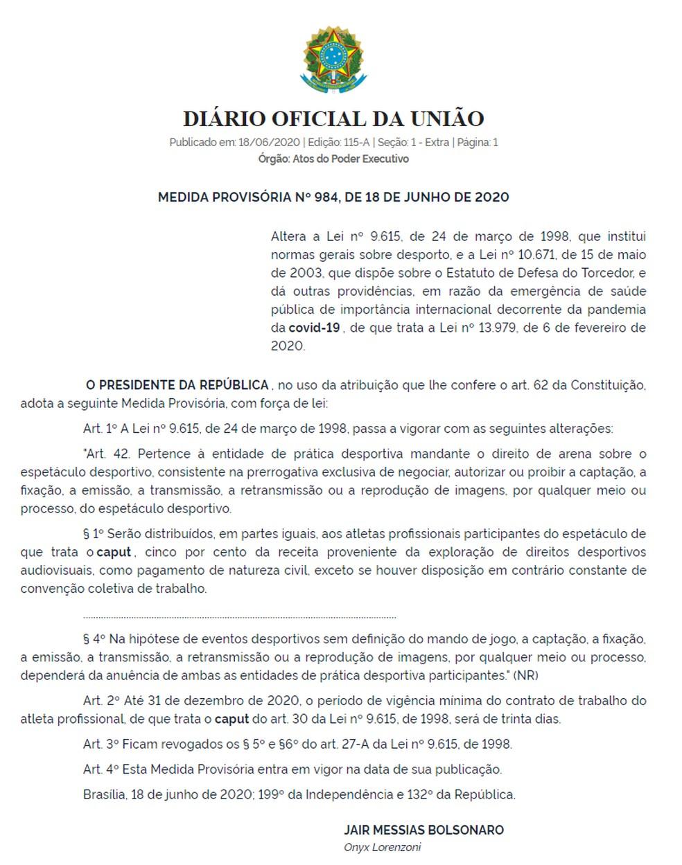 Medida Provisória que altera regras no esporte brasileiro.