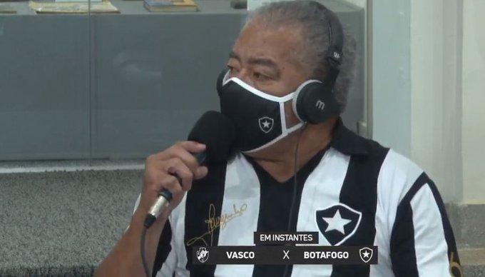 Jairzinho em transmissão pela Botafogo TV, onde realizou comentário machista. Foto: Reprodução/Redes Sociais
