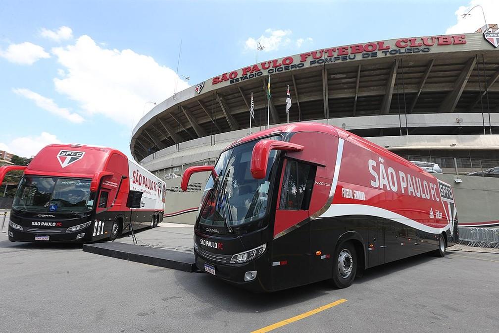Ônibus do São Paulo lançados neste sábado (14). Foto: Reprodução/São Paulo