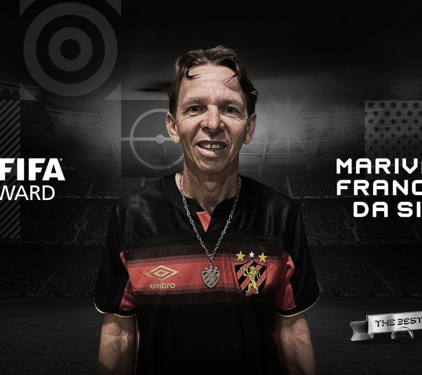 Marivaldo ganhou o prêmio de maior torcedor do mundo. Foto: Divulgação/FIFA